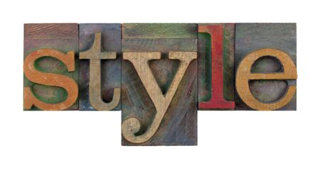 letterpress  type: the word style in vintage wood letterpress type blocks, stained by color ink, isolated on white Stock Photo