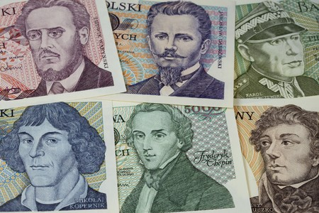 chopin: historical portraits (including Chopin and Copernicus) on vintage banknotes from Poland (1970s)
