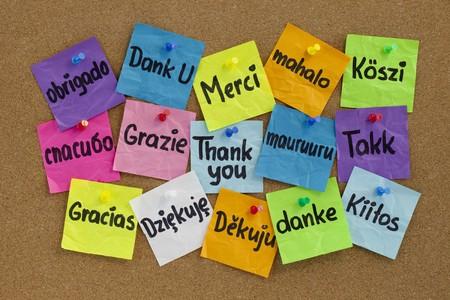 Gracias en 16 idiomas - coloridas notas adhesivas con escritura a mano en el tablón de corcho