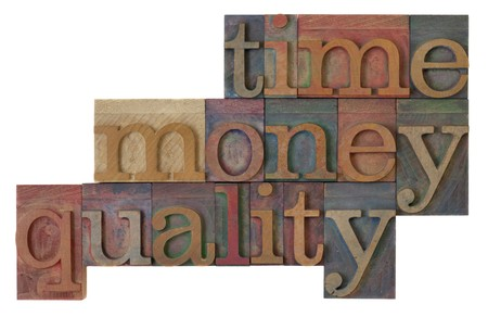 management strategy - time, money, quality words  in vintage wooden letterpress type blocks, stained by color ink, isolated on white Imagens