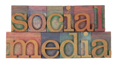 social media in vintage wooden letterpress printing blocks, stained by color inks, isolated on white photo