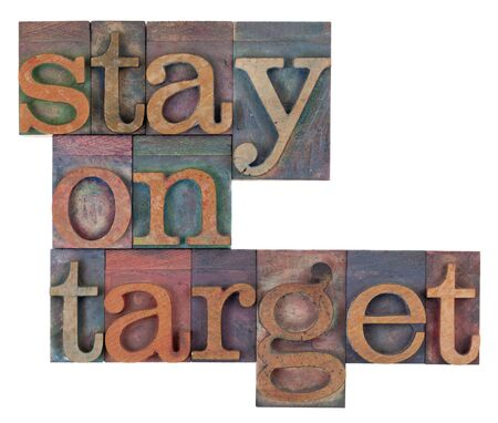 stay on target words in vintage wooden letterpress printing blocks, stained by color inks, isolated on white Stock Photo