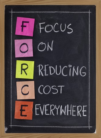 reducing: FORCE acronym (focus on reducing cost everywhere) - white chalk handwriting and color sticky notes on blackboard