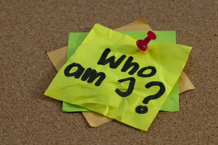 Who am I - a philosophical question posted on bulletin board Stock Photo - 7590765