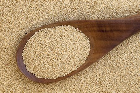 amaranthus: wooden spoon and background of amaranth grain Stock Photo