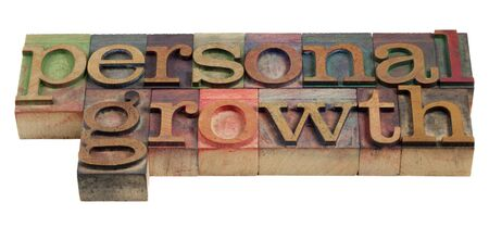 letterpress blocks: personal growth - words in vintage wooden letterpress printing blocks