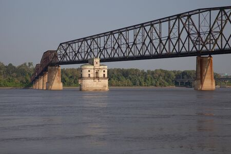 mississippi river: The Old Chain of Rocks bridge and historic water (intake) tower on the Mississippi River near St Louis Stock Photo