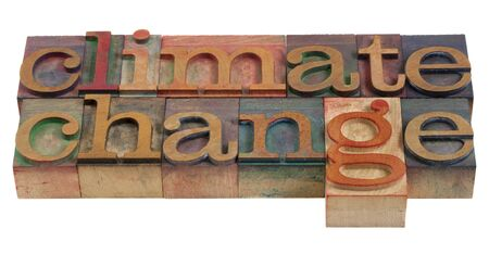 letterpress words: climate change concept - words in vintage wooden letterpress prinitng blocks