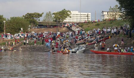 KANSAS CITY, KS - AUGUST 24: Kayak and canoes are launching at the start of 5th Missouri River 340 Race, August 24, 2010, at Kaw Point (confluence of Missouri and Kansas Rivers) Stock Photo - 7738400