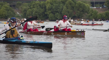 KANSAS CITY, KS - AUGUST 24: Kayaks and canoes at the start of 5th Missouri River 340 Race, August 24, 2010, at Kaw Point (confluence of Missouri and Kansas Rivers) Stock Photo - 7738402