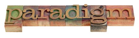 paradigm - a word in vintage wooden letterpress prinitng blocks, isolated on white Stock Photo - 7765885