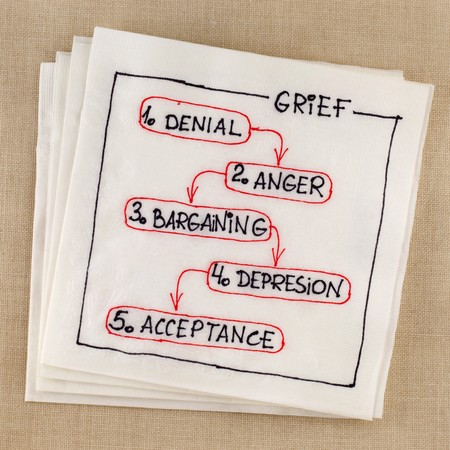 bargaining: five stages of grief (denial, anger, bargaining, depresion, acceptance) concept - napkin sketch