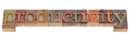 ビンテージ木製活版印刷ブロックの productivty コンセプト - スペル 写真素材