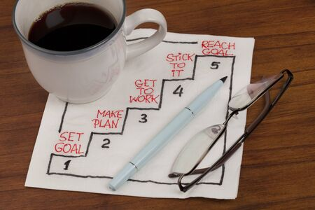 reaching goal in five steps - napkin concept sketch with coffee cup and reading glasses on wooden table Stock Photo - 7765922