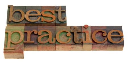 best practices: best practice - words in vintage wooden letterpress printing blocks isolated on white