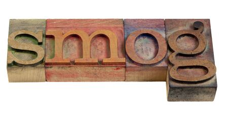 air pollution concept - smog word in vintage wooden letterpress printing blocks isolated on white Stok Fotoğraf