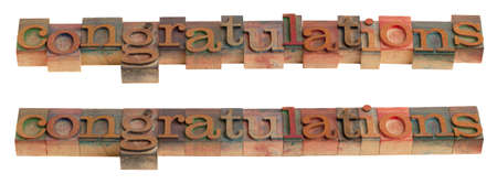 congratulations - word in vintage wooden letterpress printing blocks isolated on white
