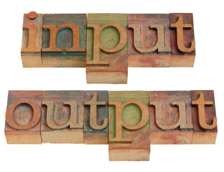 input output: input and output words in vintage wooden letterpress printing blocks isolated on white Stock Photo