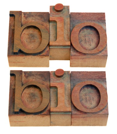 biography or biology concept, bio shortening word  in vintage wooden letterpress printing blocks isolated on white, two layouts photo
