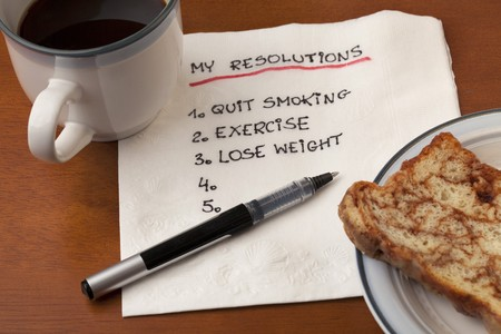 my resolution list (quit smoking, exercise, lose weight) handwriting on white napkin with coffee cup and cake on table Stock Photo - 7912034