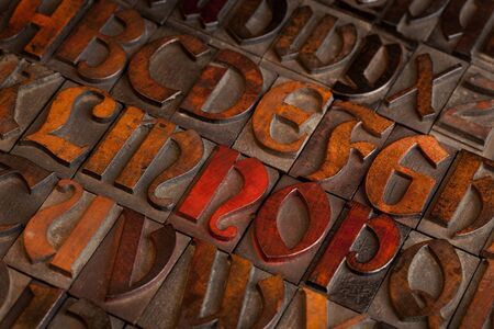 patina: alphabet abstract - vintage wooden letterpress printing blocks (Abbey typeface)   with patina from color inks