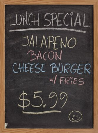menu: jalapeno, bacon, cheese burger, fries - lunch special menu - vertical blackboard sign with color chalk handwriting