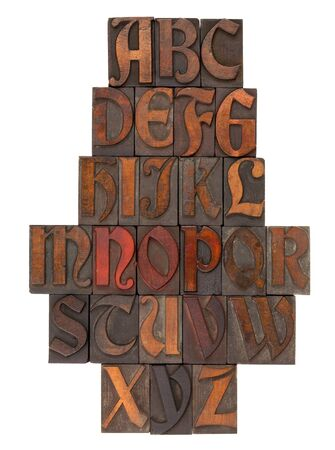 vertical composition: English alphabet in vintage wooden letterpress printing blocks (Abbey typeface), vertical composition, isolated on white