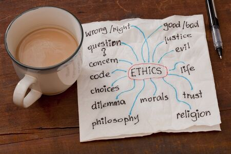 cloud of words related to ethics on a napkin with a cup of coffee on weathered wooden table