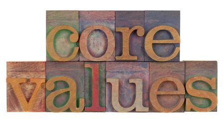 letterpress words: ethics concept - core values words in vintage wooden letterpress printing blocks isolated on white