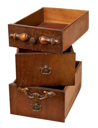 storage concept - a stack of three vintage wooden drawers isolated on white Stock Photo - 8031160