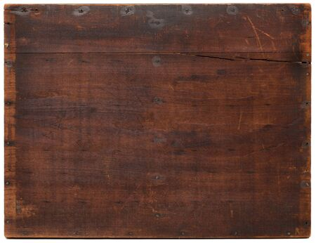 dark grunge wood board with scratches, nails, staines and cracks, isolated on on white Stock Photo - 8096099