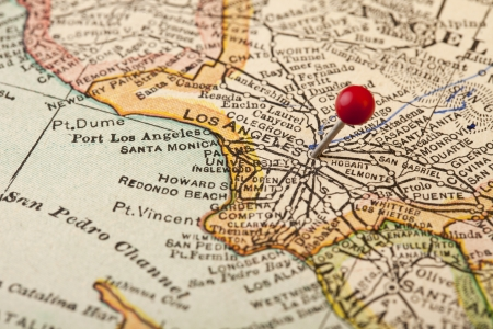 Los Angeles, California, vintage 1920s map (printed in 1926 - copyrights expired) with a red pushpin, selective focus