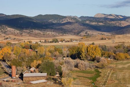 Bellvue and Pleasant Valley with Greyrock in northern Colorado near Fort Collins, a town and farmland in fall scenery Stock Photo - 8178693