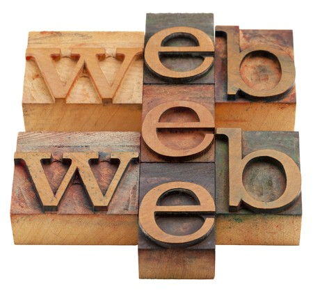 internet concept web word abstract in vintage wooden letterpress printing blocks isolated on white