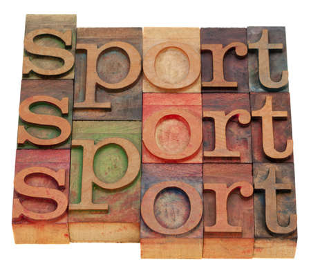 sport word abstract in vintage wooden letterpress printing blocks isolated on white Stock Photo - 8264993