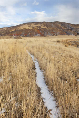 cattle trail in Red Mountain Open Space in northern Colorado (Larimer County), fall scenery with dry grass and soem snow Stock Photo - 8265023