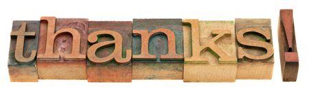 note of exclamation: Gracias - palabra en tipograf�a de madera vintage aislados de bloques de impresi�n en blanco