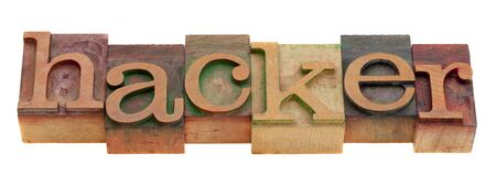 hacker word in vintage wooden letterpress printing blocks isolated on white Stock Photo - 8378950