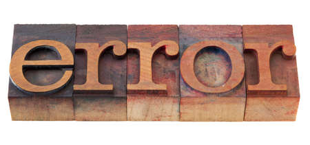 oversight: error  word in vintage wooden letterpress printing blocks, stained by color inks, isolated on white Stock Photo
