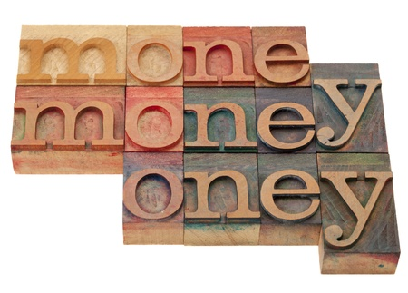 money - word abstract in vintage wooden lettepress prinitng blocks, stained by color inks, isolated on white Stock Photo - 8533323
