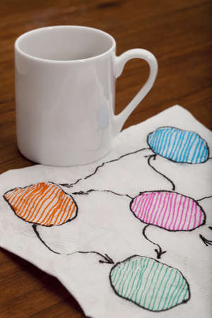 abstract flowchart or mind map - napkin doodle with espresso coffee cup on old wooden table Stock Photo - 8533303