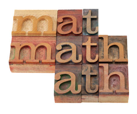 math word abstract in vintage wooden letterpress printing blocks, stained by color inks, isolated on white Stock Photo - 8554159