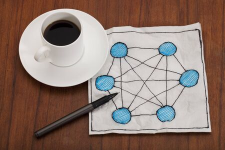 concept of fully connected network (mesh) - napkin doodle with espresso coffee cup on table Stock Photo - 8554172