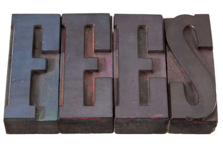 honorarium: fees word in antique wooden letterpress prinitng blocks, stained by color inks, isolated on white