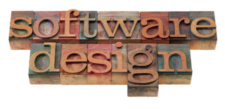 software design  words in vintage wooden letterpress printing blocks, stained by color inks, isolated on white photo