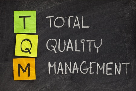 project: TQM acronym (total quality management) - white chalk handwriting and sticky notes on blackboard
