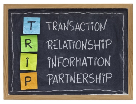 successful customer supplier co-operation -TRIP (transaction, relationship, information, partnership) - business acronym explained with color sticky notes and white chalk handwriting on blackboard Stock Photo - 8612740