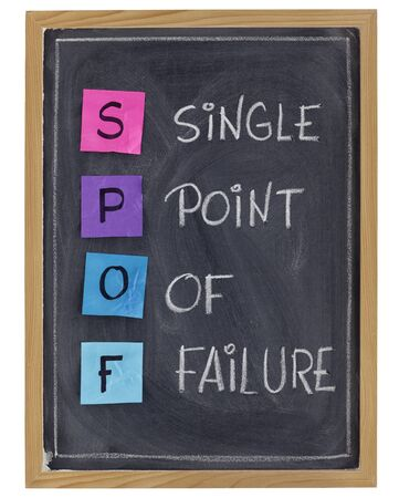 SPOF (single point of failure) - quality, reliability term in project management and planning - white chalk handwriting and color sticky notes on blackboard Stock Photo - 8659953