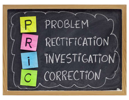 rectification: PRIC (Problem, Rectification, Investigation, Correction) - good quality management practice - sticky notes and white chalk handwriting on blackboard Stock Photo