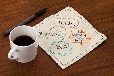 creative: think positively, big and outside the box - motivational napkin doodle placed on wooden table with espresso coffee cup Stock Photo